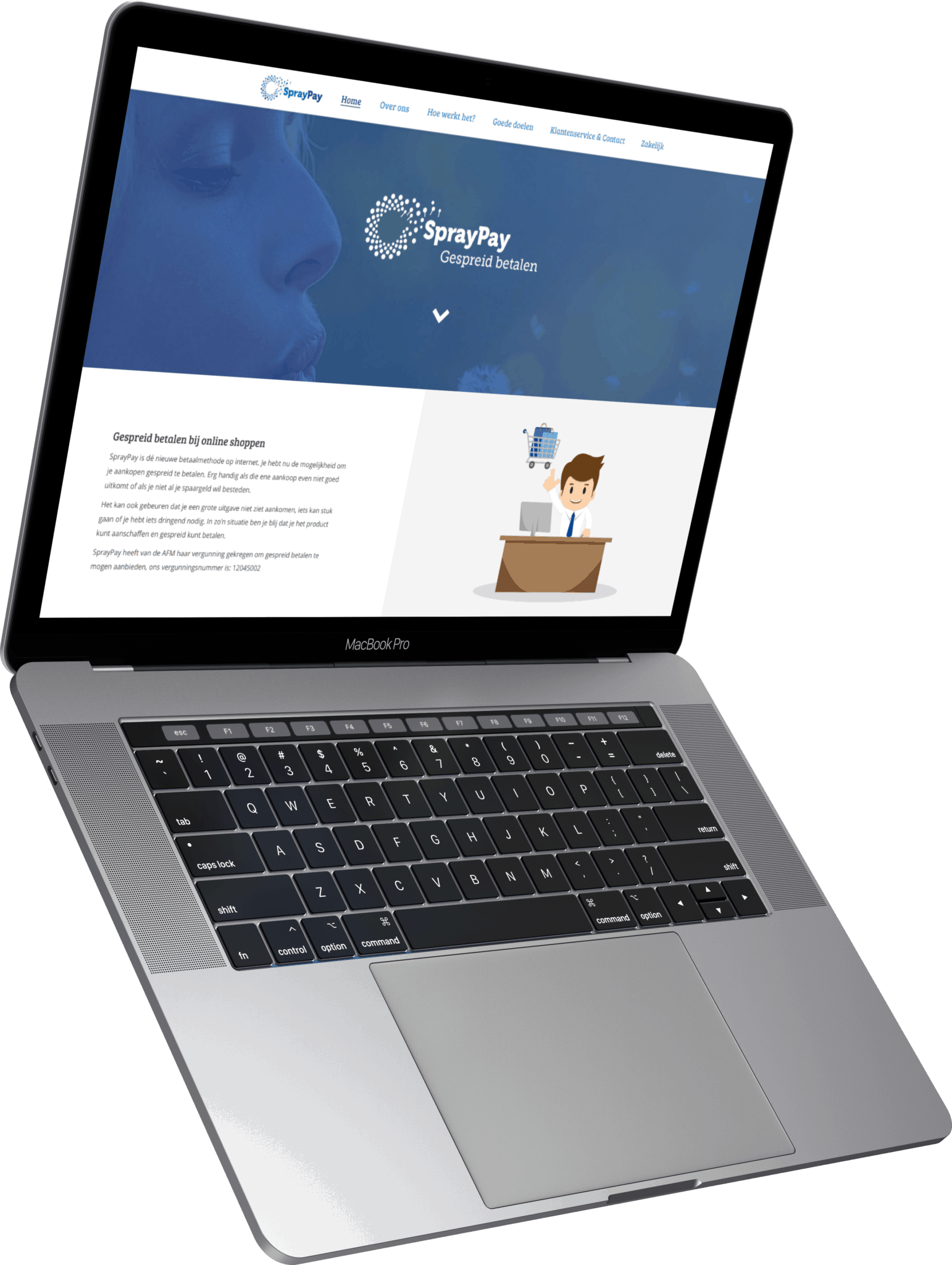 SprayPay website op MacBook